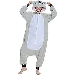 YUWELL Mujer Hombres Flannel Nighty Pijamas Animal Unisex Hoodies Pijamas Homewear Cosplay Warm Bed Gowns Set de noche (Koala Gris) Tamaño L