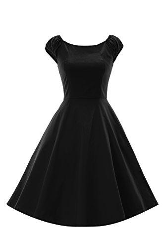 LUOUSE Robe de Soiree cocktail, Bal Style Années 50, Rockabilly, Swing,Vintage 1950's Audrey Hepburn Noir