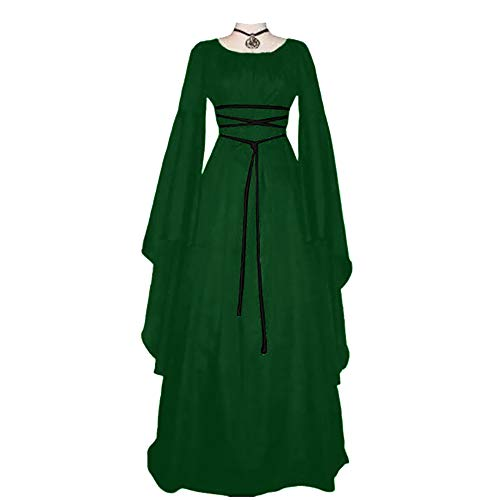 Yukeyy Abbigliamento Da Donna Medievale a Maniche Lunghe Costume Cosplay Di Halloween Abito Vintage