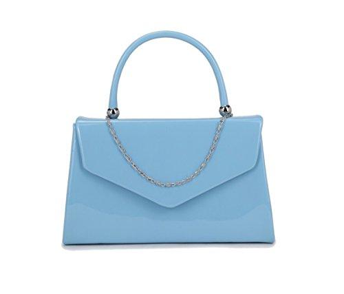 Papaya Fashion Abendtasche aus Lackleder Blau