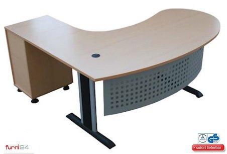 """Schreibtisch Büroschreibtisch Schreibtisch Computertisch Chefschreibtisch Winkelschreibtisch inkl. Beistellcontainer """"Gela"""" rechts gewinkelt **simple Montage**"""