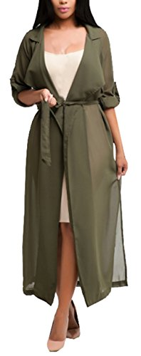 Blansdi Damen Chiffon Cardigan Cover up Tops Bluse Lose Langarmshirt Elegant Sommer Maxi Offene Mantel Outwear Party Cocktail Strandkleid mit Gürtel (Großhandel Tops Womens Fashion)