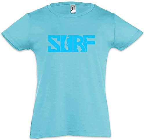 Surf t-shirt bambina surfing sports beach island wellenreiten wave rider sport skateboard sk8 strand boys girls wind hawaii maoi professional größen s – 3xl