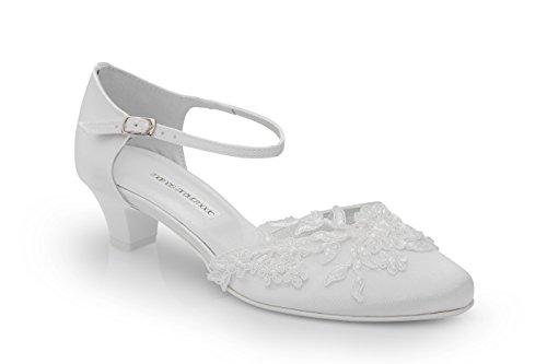 Mamas Brautmode Brautschuhe mit edler Spitze, Absatzhöhe 3,5 cm, weiß, Größe 42 (228/51)