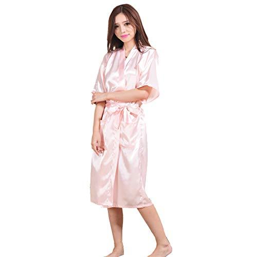 MXJEEIO Vestido Pijama Mujer Cuello en V Kimono Corto Bata de Satén Lencería Kimono del Cordón Satén Seda de Hielo Bata Albornoz Camisón Manga Larga Servicio a Domicilio Pijamas Finos