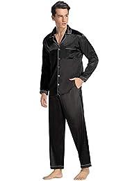 Aibrou Clásico Pijamas Hombre 2 Piezas Saten Ropa de Dormir Hombre,Suave,Cómodo y Agradable