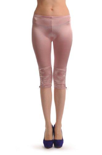 Pink Silky Soft Satin With Side Zip - Rosa 3/4 Leggings (Capri) Einheitsgroesse (32-36)