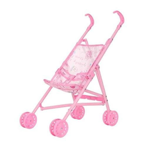 73JohnPol Carrozzina Pieghevole per Bambole con Bambola per Bambole da 12 Pollici Barbie Mini Passeggino per Bambini Regalo Rosa