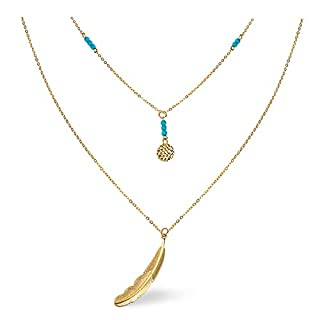 suyi Stylish Multilayer Boho Necklace Turquoise Beads Layered Long Chain Necklace with Feather Pendant for Women Girls A-Gold