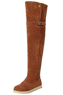 Overknee Stiefel Damen Winter Warm Schneestiefel Kunstfell Bequem Schnalle Schuhe Von BIGTREE Grau 41 EU y3j0MB
