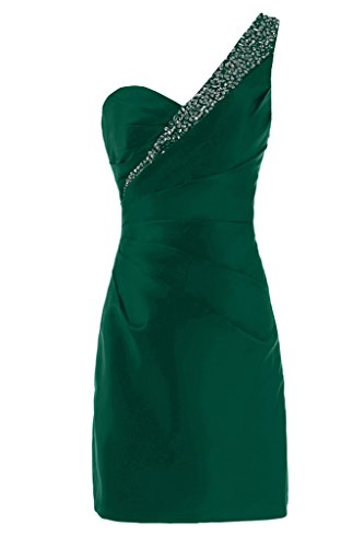 Sunvary Liebling Ein-Traeger Abendkleider Kurz Satin Cocktailkleider Brautjungfernkleider Partykleider Dunkelgruen
