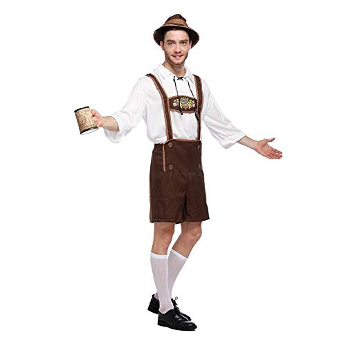 Herren Oktoberfest Kostüm Beer Bavarian Lederhosen Kostüm Komplett-Set, Hosenträgern und Hut, Outfit mit Hemd,Kleidung für Fasching, Karneval, Party Oder Wiesn (Herren Lederhose Oktoberfest Kostüm)