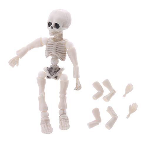 JAGENIE Movable Mr. Bones Skelett Menschliches Modell Pose Schädel Ganzkörper Mini Figur Spielzeug Halloween Schreibtisch Ornament