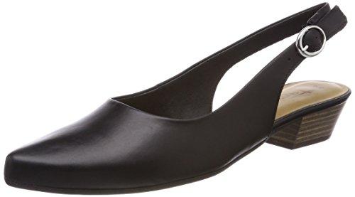 Tamaris Damen 29400 Slingback Sandalen, Schwarz (Black Leather), 37 EU Mid-heel-slingbacks