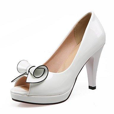 Festivität schwarz Damen Kleid amp; Weiß Lvyuan lackleder White hochzeit sandalen blockabsatz komfort Party BxdYdwvq