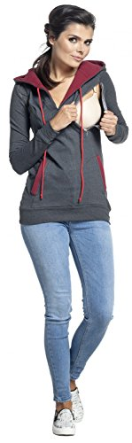 Zeta Ville - Damen Diskretes Still-Sweatshirt Kapuze Seitenreißverschluss - 124c Graphit Melange