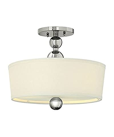 'The Lindley' 3 Lamp Semi Flush Ceiling Light - Polished Nickel
