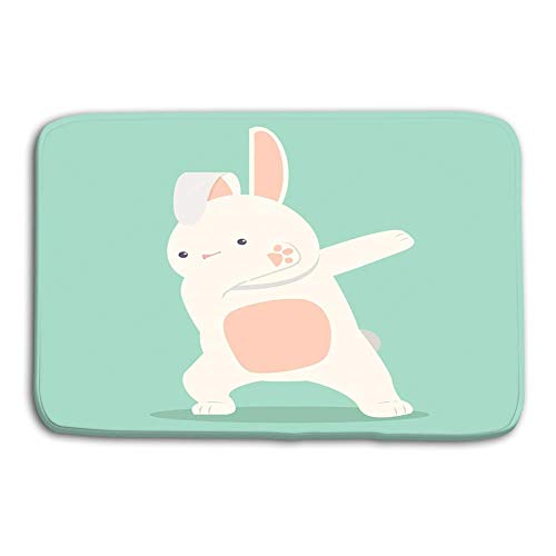 Uosliks Kitchen Floor Bath Entrance Door Mats Rug Bunny Funny Dabbing Movement Flat Minimal eps File Copy Space Dreamy Non Slip Bathroom Mats 23.6