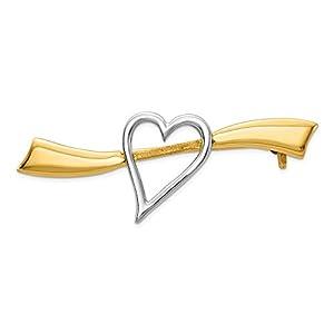 Diamond2deal Anstecknadel in Herzform, 14 kt Gelbgold, satiniert, poliert