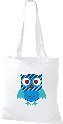 Retro Farbe niedliche Bunte Karos Owl Punkte Eule mit Jute weiss Stoffbeutel Tragetasche diverse streifen ShirtInStyle ORqTUWcBO