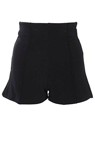 Noir Femme Lura Short Court Taille Haute Côtelé Noir