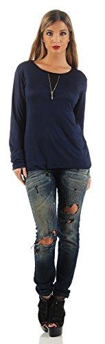 Mr. Shine® �?Langarm Lose Bluse Hemd Shirt Oversize Sweatshirt Oberteil Tops mit Zip S-XXL Navy Blau