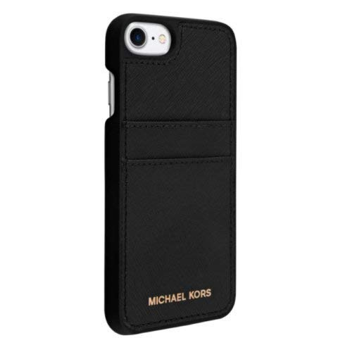 Michael Kors Saffiano Leather Pocket Case for iPhone 8 & iPhone 7, Black - Kors Michael Coach
