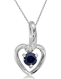 6580d296f89b Collar con colgante de zafiro azul y diamantes de corazón. Oro blanco de 14  k