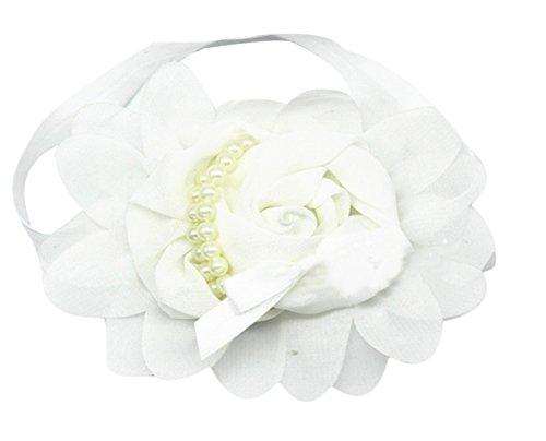EOZY Belle Strass Fille d'Ange Bébé Perle Fleur Bandeau Cheveux Headband Blanc
