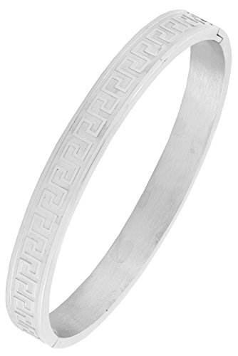 Italian Designer Silver 316L Surgical Stainless Steel Openable Free Size Kada Bangle Bracelet Men  available at amazon for Rs.699