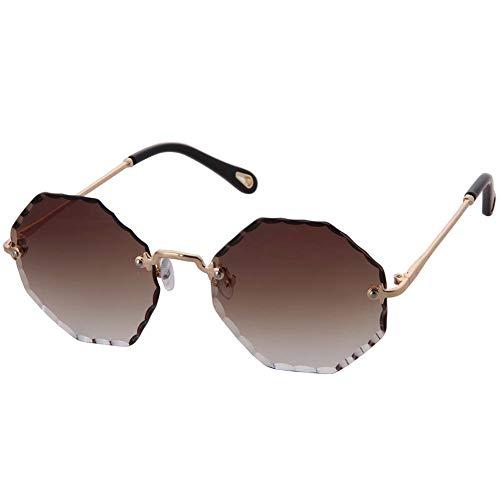 1c7031709e OGOBVCK Gafas de sol de moda oversize polígono frameless Womens Mens sin  montura de gafas de