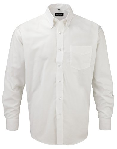 Russell collection! facile oxford chemise à manches longues en matelas grande taille Blanc - Blanc