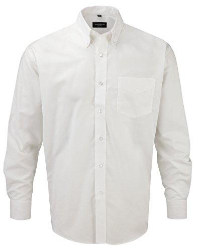 Russell Collection! Pflegeleichtes Langarm Oxford Hemd auch in Übergrößen S / 37/38 / 15,White