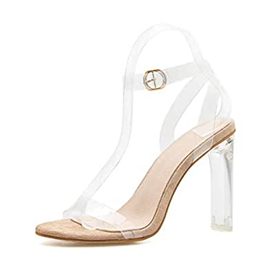 52f7008aba Stupmary Women's Clear Strap Pumps Shoes High Heeled Transparent Black  Chunky Heels Buckle Strap Sandals Beige