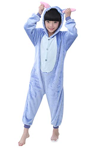 """YAOMEI Niños Onesies Kigurumi Pijamas, Niña Traje Disfraz Capucha, Ropa de Dormir Halloween Cosplay Navidad Animales de Vestuario (140 para Niño Altura 130-140CM (51""""-55""""), Puntada)"""