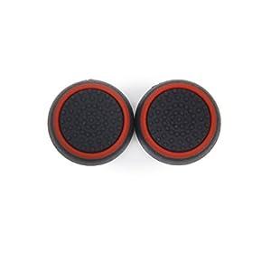 Ein Paar Spiel Joystick Thumbstick Kappen für PlayStation 4 PS4 Steuerung Schwarz und Rot