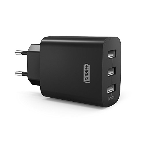 USB Ladegerät RAVPower 3-Port 30W 6A Ladeadapter mit iSmart Technologie für iPhone X XS XR XS Max 8 7 6 Plus, iPad Pro Air Mini, Galaxy S9 S8 Plus, LG, Huawei, HTC, Powerbank, externer Akku, MP3 usw. schwarz