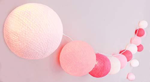 CREATIVECOTTON Handgearbeitete Lichterkette \'Mädchenzimmer\' mit Kugeln aus Baumwolle - Cotton Ball Lights in weiß - rosa - pink, innen (20 Kugeln)