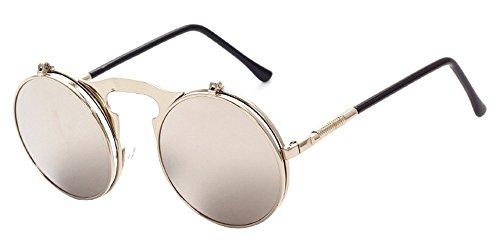 XFentech Metall Retro Steampunk Style Circle Sonnenbrille Flip up Runde Linse für Männer & Frauen Silber-weiß