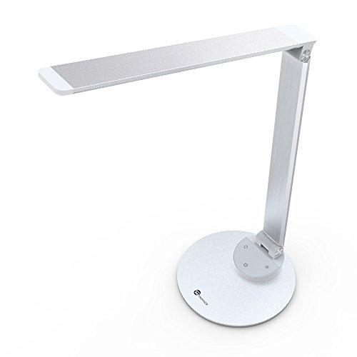 Lampada scrivania ufficio taotronics ultrasottile minimalist, usb ricarica (in lega di alluminio, touch control, anabbagliante, funzione di memoria, 5 temperature di colore e 5 livelli di luminosità) - colore argento