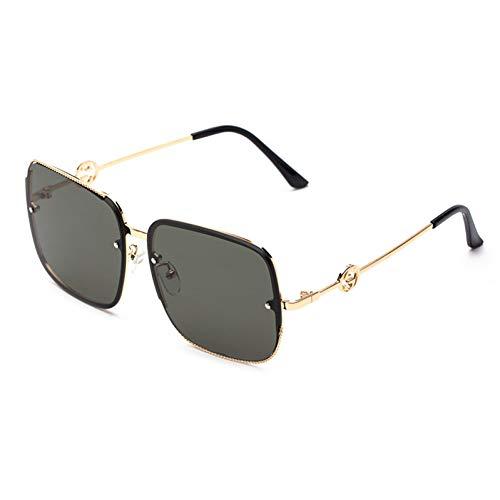 Taiyangcheng Polarisierte Sonnenbrille New Luxury Square Sonnenbrille Frauen Brand Design Seil Rahmen Gradienten Sonnenbrille Damen Weibliche Männer Party Geschenk Uv400,grau Grün