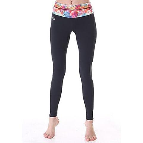 Suministros exteriores pantalones de yoga Body Shaper Slim Fit Yoga polaina de tobillo con cintura Leaf Imprimir ropa deportiva,negro,xl,Yogo