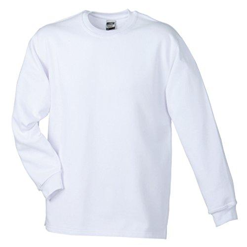 JAMES & NICHOLSON Sweatshirt mit Rundhalsausschnitt White