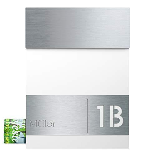 Briefkasten Edelstahl mit Zeitungsfach MOCAVI Box Serie 510 hochwertiger Wand-Postkasten wetterfest rostfrei (Hausnummer + Name, anthrazit Ral 7016) (Hausnummer + Name, weiß)