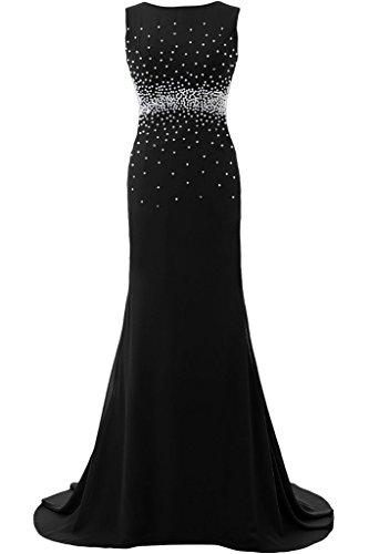 Sunvary Elegant Rund Mermaid Chiffon Lang Armlos Perlen Pailette 2016 Neu Abendkleider Mutterkleider Partykleid Schwarz