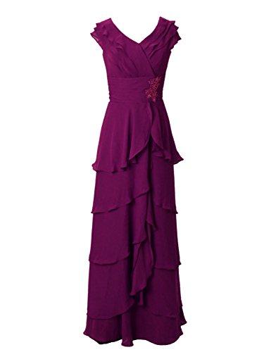 Dressystar Robe de demoiselle d'honneur/de soirée/de Cérémonie Longue, à Ruchés plongeants, Mancherons, Plissée, à paillettes, en Mousseline Raisin