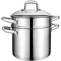 Olla de Sopa 304 Acero Inoxidable Engrosamiento Filtro de Doble Fondo Sopa Pasta Cocina de Gas