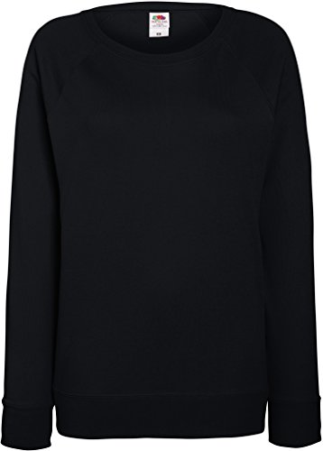 Schwarz Damen Pullover Xl (Fruit OF The Loom Damen Raglan Sweatshirt XL,Schwarz)