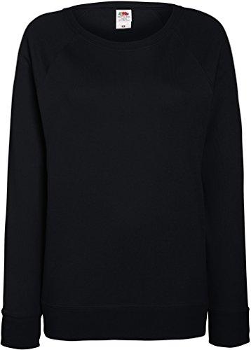 Damen Xl Schwarz Pullover (Fruit OF The Loom Damen Raglan Sweatshirt XL,Schwarz)