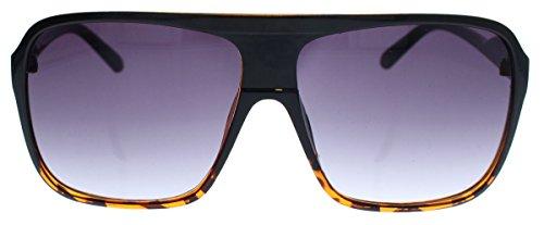 Old School Sonnenbrille Herren Nerd Brille 80er Jahre Flat Top oversized (Black Cheetah)